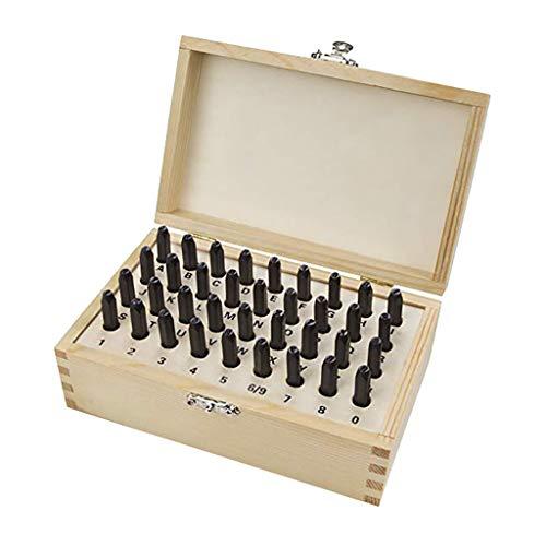 Heimwerkzeuge Set ZYUEER Digital Stamping 6610 5/32-Zoll-Brief- und Zahlenstempel-Set 36-teilige Holzbox -