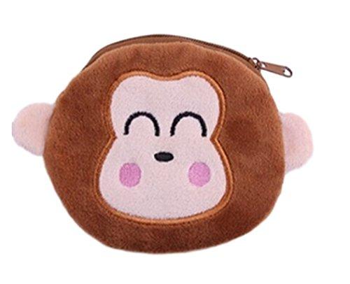 Flauschiger Kindergeldbeutel/Kinderportemonnaie (Geldbörse/Münzbörse) mit niedlichem Tiermotiv (Kätzchen, Hase, Panda, Affe.) im süßen Kawaii-Stil (Braun (Äffchen))