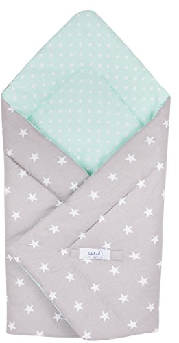 Babydecke zum Einwickeln Baby Einschlagdecke/Babyhörnchen 100% Baumwolle 80x80cm (Sterne) (Flanell Rot Robe)