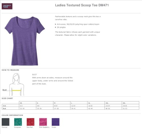 District Made Damen Strukturierte Scoop T-Shirt Dunkelgrau