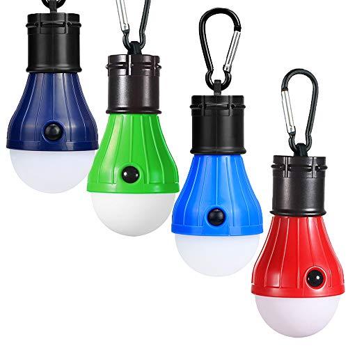 JTENG Campinglampe LED mit Karabiner Tragbare Laterne Zelt Leuchtmittel Zeltlampe Glühbirne Set für Camping, Abenteuer,Angeln (4 Stücke)
