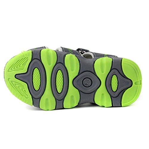 Pour 3-7 ans garçon,Transer ® Enfants enfant garçon fermé Toe Plage d'été sandales en cuir doux chaussures plates Gris