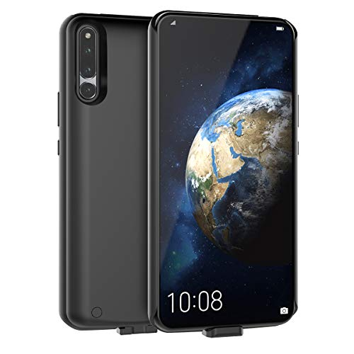 Huawei Honor Magic 2 Akku Hülle, 6500mAh Externe AkkuCase Tragbar Aufladbar Batterie Ladehülle Integrierten Ersatzakku Ladegerät Power Bank Backup Extra Pack Schutzhülle Schwarz