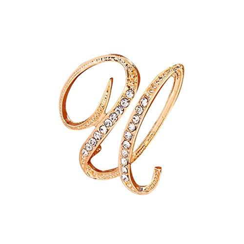 OSYARD Mode Style Strass Kristall Englische Buchstaben Brosche Pin Hochzeit Party Kleidung Zubehoer Broschen Pins Schmuck für Damen Frauen
