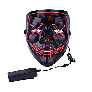 Alxcio Halloween Masken LED Light EL Wire Cosplay Maske, Purge Mask Für Festival Cosplay Halloween Kostüm Batterie Angetrieben, Rosa