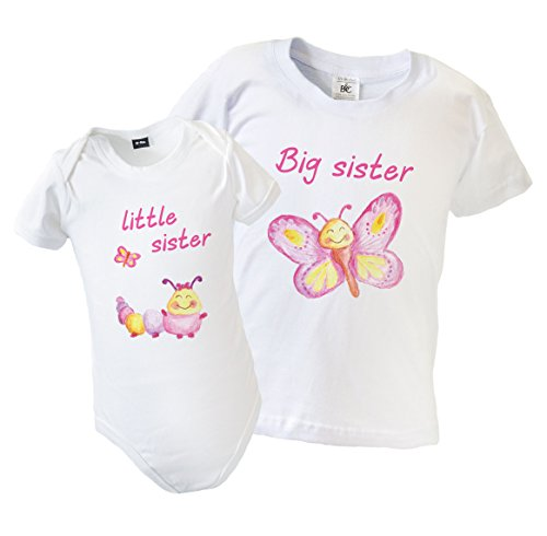 Big Sister Little Sister Matching Outfits with Butterfly & Caterpillar