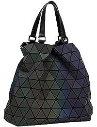 23579f2aeee07 Leuchtende Frauen Geometrie Lattic Totes Tasche Hohe Gesteppte Kette  Umhängetaschen Laser Plain Folding Handtaschen