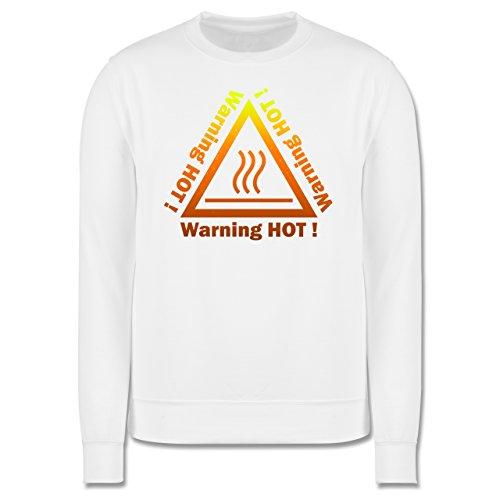 Sprüche - Warning hot - Herren Premium Pullover Weiß