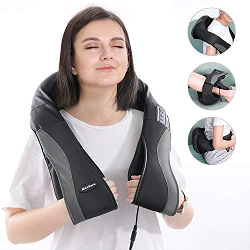 Massagegerät Nacken Schulter Massagegeraet, Shiatsu Nackenmassagegerät Mit Wärmefunktion Vibration Rücken Elektrische Massage Geräte Mit 3 Einstellbaren Geschwindigkeiten Für Haus Büro Auto
