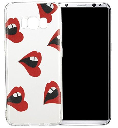 Nnopbeclik Silikon Transparent Hülle Für Samsung Galaxy S8, Ultra Slim Weich TPU Cover Case [Einfaches Design] Durchsichtig Blume Case Etui, Druck Multi Muster [Schmetterling] Niedlich Schutzhülle Glä Lippen