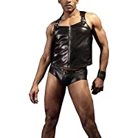 Sexy Lingerie Men's PVC Skinny Black Patent Leather 2 Pieces Set Nightclub Bondage Sex Toys Products Size M-XXL,Black,XL