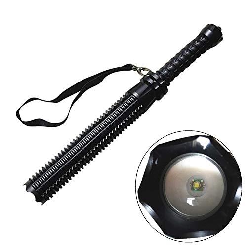 Selbstverteidigungstaschenlampe, WASAGA Zoomable Baseball Bat LED-Taschenlampe für den Notfall mit 18650 oder AAA Batterie (Schwarz)