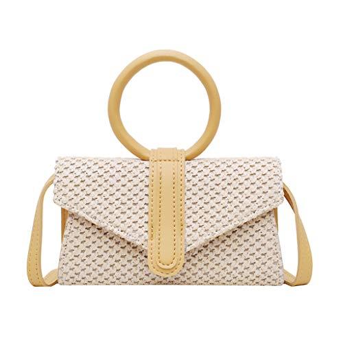 Mitlfuny handbemalte Ledertasche, Schultertasche, Geschenk, Handgefertigte Tasche,Mode Frauen Retro Weave Handle Bag Messenger Bags Umhängetasche Umhängetasche
