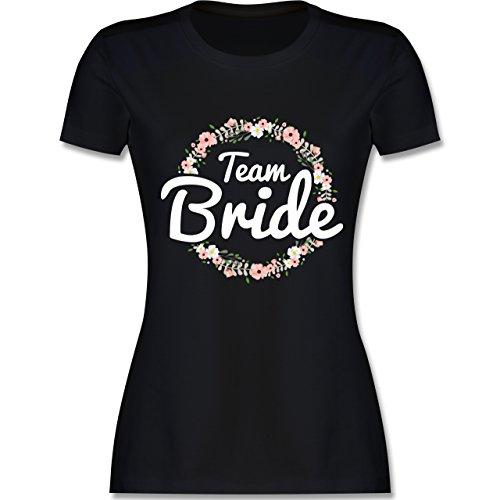 JGA Junggesellinnenabschied - Team Bride Blumenkranz - XL - Schwarz - L191 - Damen Tshirt und Frauen (Stagette Kostüm)