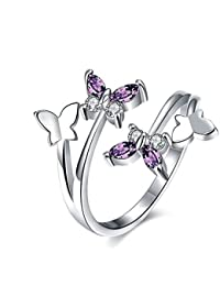 Qinlee Women Ring Elegant Fashion Butterfly Crystal Ring Diamond Bend Size Adjustable Open Rings Wedding Jewelry For Lady Girls Birthday Gift(Sliver)