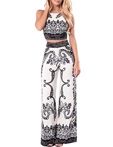 Boutiquefeel Damen Print Drawstring Crop Top Wide Leg Hose Sets zwei Stücke Outfits Weiß L (Sehr Outfit Sexy Stück 2)