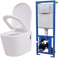 vidaXL Inodoro Váter WC de Pared Cisterna Oculta de Cerámica Blanco Cierre Suave