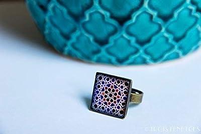 Bague Photographie de Céramique et Résine écologique - Mosaique bleue - Bijoux Mosaïques de l'Alhambra- Idee cadeau anniversaire - Cadeau de Noël