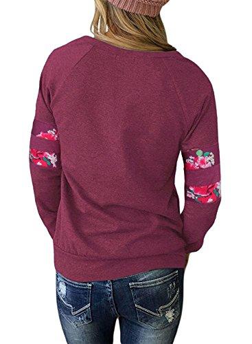 Aitos Oberteile Tops Frauen Langarmshirt Blumenmuster Rose Rundhals Damen Bluse Pullover T Shirt Basic Casual Rot