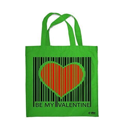COLOUR FASHION Be My Valentino Codice a barre CUORE SPESA BORSA DA SPIAGGIA BORSA 0095 Verde chiaro