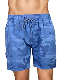 Crosshatch Mens Mesh Lined Swimming Shorts (Large, Camoswim - Blue Camo)