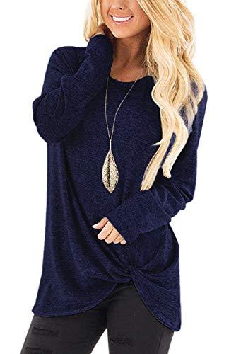 Dasbayla Langarm T-Shirt Rundhals Frauen Knoten Sweatshirt Marineblau L