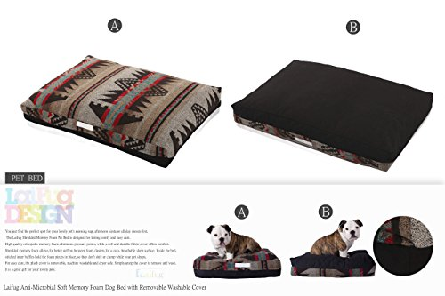 LaiFug-Double-side-Memory-Foam-PetDog-Bed-with-removable-Washable-Cover-Small59x46x13-Indian-StyleBlack