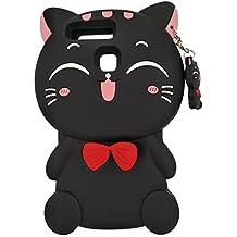Huawei P9 Lite / Huawei P9 Funda, DUGRO Nuevo 3D de Dibujos Animados de Suave Silicona [Diseño más Grueso] Ultra Anti-Choque Teléfono Caso - Gato Negro