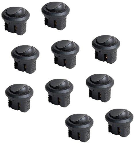 Emuca 5071017 Kit Interruttori a Tasto Basculante Rotondi con Posizioni On-Off, Nero, Set di 10 Pezzi