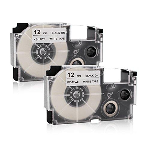 Labelwell 12mm x 8m XR-12WE XR-12WE2S XR12WE2S Etikettenband - 2er Ersatz Casio XR-12WE1 Schriftband für Casio KL-60 KL-820 KL-120 KL-7400 KL-HD1 KL-G2 KL-130 Beschriftungsgerät, Schwarz auf Weiß