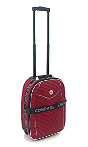 Lightweight Cabin Approved Hard Wearing and Light Weight Trolley Wheeled Luggage Bag (Red Diamond Print)