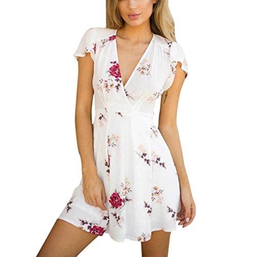Janly® Dress Womans Floral V Neck Short Dress Ladies Girls Sexy Mini Sundrss Summer Beach Outfits