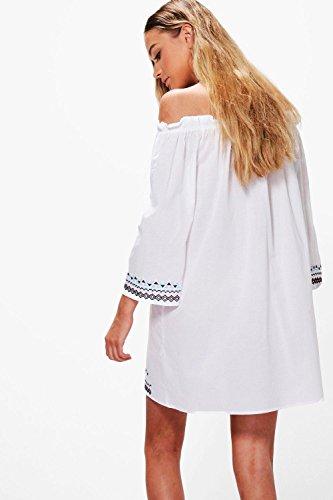 Damen Weiß Frey Besticktes, Schulterfreies A-linien-kleid Weiß