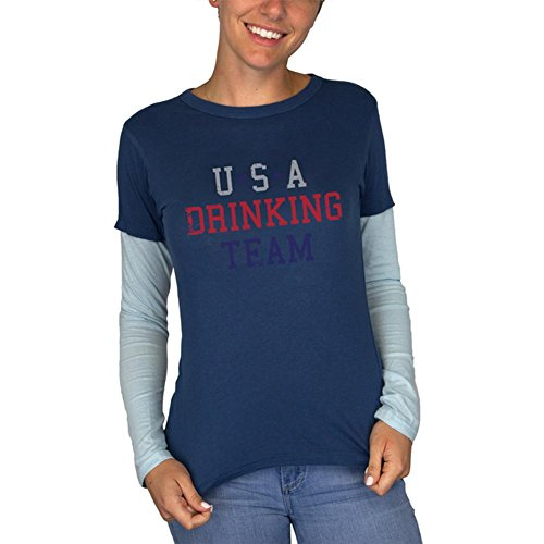 Old Glory 4. Juli USA Trinken Team Junioren Langarm 2fer T-Shirt Navy-Hellblau LG (Trinken T-shirt Team Juniors)