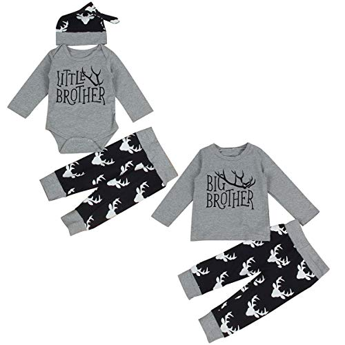es Baby Geschwister Outfits Big Brother Little Brother Deer Romper (Color : Gray, Size : Little bro 6-12M) ()