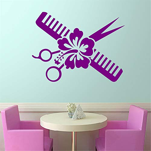 zlhcich Salon Aufkleber Scissor Decal Hair Barber Shop Poster Vinyl Wandkunst Aufkleber HaarschnittDekor Dekoration Wandbild Salon Aufkleber50 * 66 cm