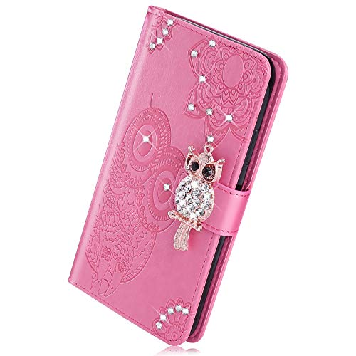 Kompatibel mit Huawei Mate 20 Handy Hülle, Herbests Luxus Glitzer Strass Mandala Eule Flip Hülle Wallet Case Leder Klapphülle Ledertasche Bookstyle Lederhülle Schuzhülle Kartenfach,Rosa