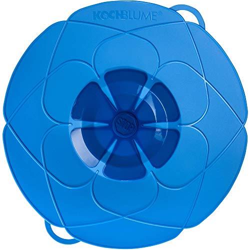 Kochblume das Original, Silikon Überkochschutz für Töpfe und Pfannen, Mikrowellen-Deckel, Spritzschutz und Dampfgar-Aufsatz | Set mit Zipptasche in der pinken Box (hellblau, L | Topfgröße 14-24cm)