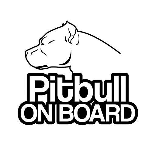 EROSPA® KFZ Auto-Aufkleber - Pitbull On Board - Animal Tierisch Hund - Car-Sticker (Schwarz)