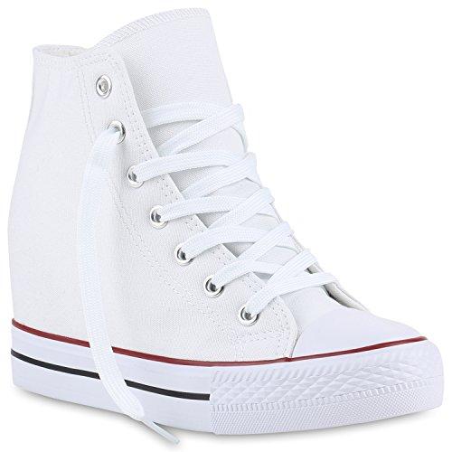 Stiefelparadies Damen Schuhe 139810 Sneakers Weiss Rot Schwarz 40 Flandell Weiße Wedge Sneakers