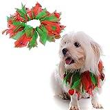 Merry Angel Haustier Halsband Weihnachten Supplies Halloween Ribbon Hundehalsband Ornaments Weihnachten Hut Hund Kleidung Ornament Lätzchen (Rot und Grün)