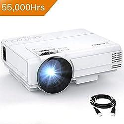 Proyector Crosstour Mini LED, de Cine en casa Full HD 1080P Lampara con 55.000 Horas de Uso, Compatible con HDMI/USB/Tarjeta SD/VGA/AV/Movil/Fire TV Stick