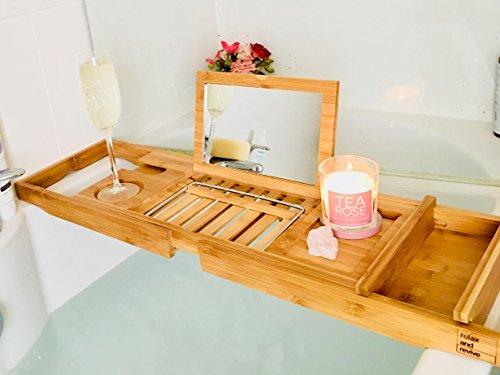 Vasca Da Bagno Rimovibile : Portaoggetti da bagno in bambù naturale con specchio di relax e