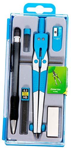 Preisvergleich Produktbild Metzger & Mendle 66390861 Zirkel-Set 6-teilig mit Mittelradspindel ocean-blau