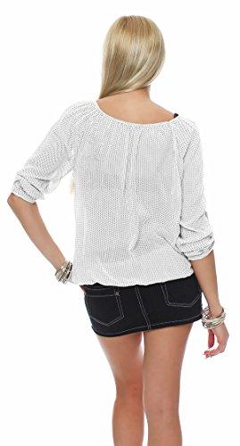ZARMEXX Fashion - Chemisier - Tunique - À Carreaux - Femme Blanc - blanc