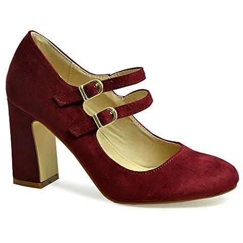 Cucu Fashion , Bride de cheville femme - rouge - bordeaux,