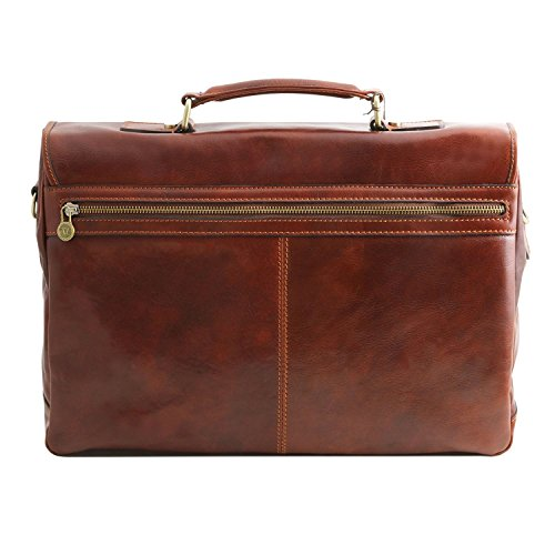 Tuscany Leather Mantova - Cartable TL SMART multi compartiments en cuir avec rabat - TL141450 (Marron foncé) Miel