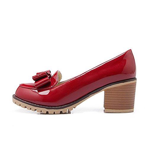 AgooLar Femme Verni Tire Rond à Talon Correct Couleur Unie Chaussures Légeres Rouge