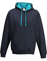 Oxford Navy/ Hawaiian Blue Varsity hoodie, Contrast Pullover Men's Hoodie PLUS 1 T SHIRT with Hooded Top