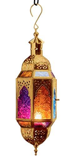 Purity Hängelaterne für Teelichter, marokkanischer Stil, mehrfarbiges Glas und goldfarbenes Metall, Small 10 x 8.5 x 29.5cm